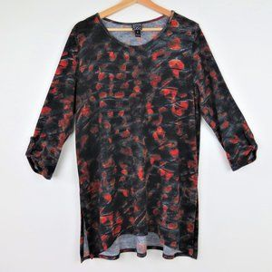 Clara Sun Woo | Black Red Printed Tunic Blouse